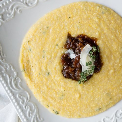 The Lazy Mom's Cooking Blog: Tomato Bacon Fig Jam With Parmesan Thyme Polenta