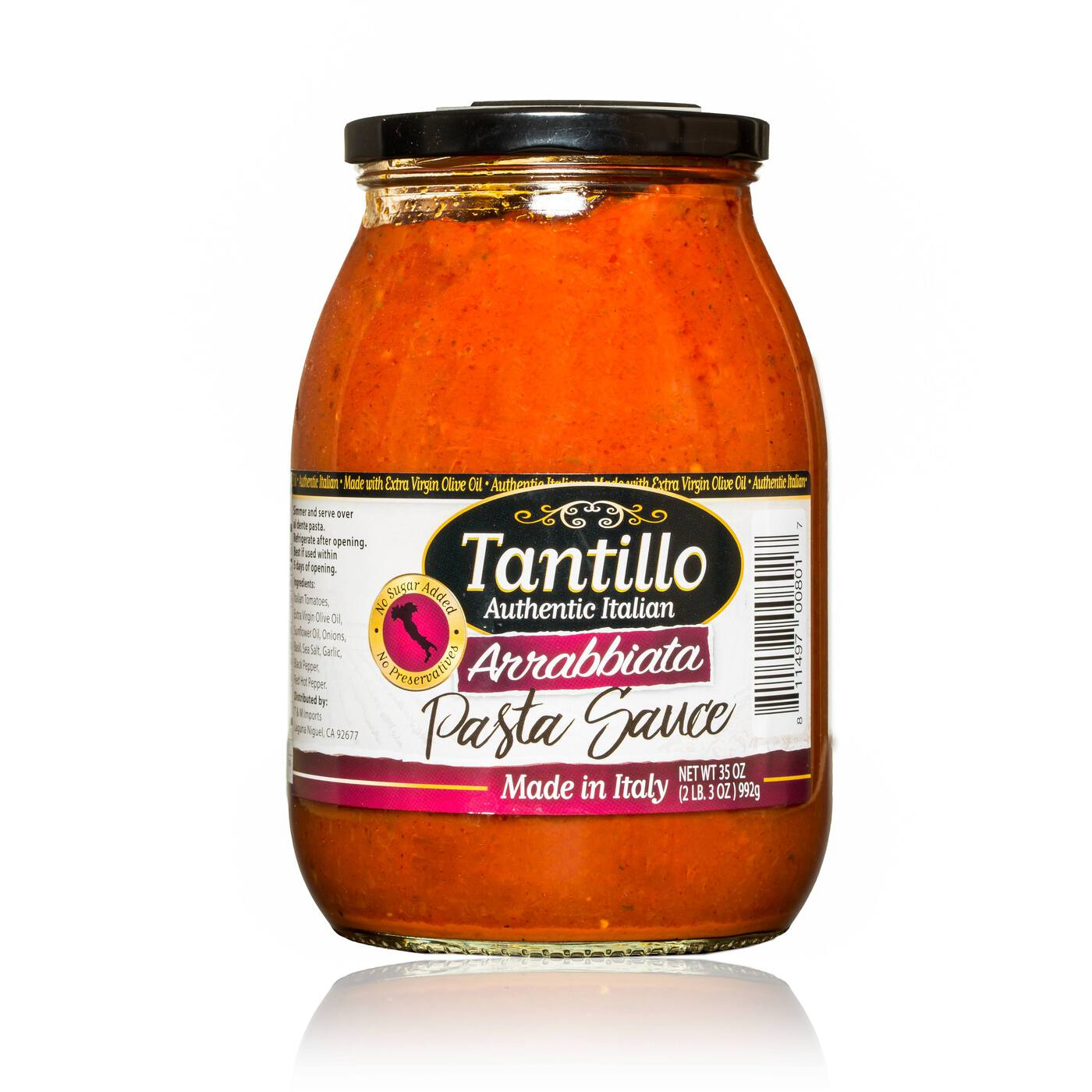 NEW* Tantillo Authentic Italian Arrabbiata Pasta Sauce – 35oz